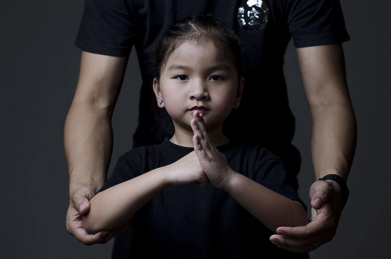 Wushu girl fist and palm